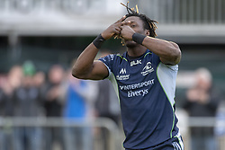 September 22, 2018 - Galway, Ireland - Niyi Adeolokun of Connacht celebrates scoring a try during the Guinness PRO14 match between Connacht Rugby and Scarlets at the Sportsground in Galway, Ireland on September 22, 2018  (Credit Image: © Andrew Surma/NurPhoto/ZUMA Press)