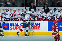 REGINA, SK - MAY 20: Jared Legien #13 of Regina Pats skates by the bench to celebrate a goal against the Acadie-Bathurst Titan at the Brandt Centre on May 20, 2018 in Regina, Canada. (Photo by Marissa Baecker/CHL Images)