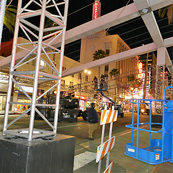 Oscars preparation underway while rain and cold battle in Los Angeles. 17 Feb 2019 Pictured: Oscars 2018 preparations. Photo credit: KAT / MEGA TheMegaAgency.com +1 888 505 6342