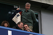 Roman Abramovich, the Chelsea owner puts his coat on as he watches from the stands .The Emirates FA Cup, 5th round match, Chelsea v Manchester city at Stamford Bridge in London on Sunday 21st Feb 2016.<br /> pic by John Patrick Fletcher, Andrew Orchard sports photography.