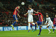 Harry Kane of Tottenham Hotspur © jumps to head the ball. UEFA Champions league match, group E, Tottenham Hotspur v CSKA Moscow at Wembley Stadium in London on Wednesday 7th December 2016.<br /> pic by John Patrick Fletcher, Andrew Orchard sports photography.