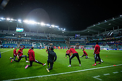 TALLINN, ESTONIA - Monday, October 11, 2021: Wales players during the pre-match warm-up before the FIFA World Cup Qatar 2022 Qualifying Group E match between Estonia and Wales at the A. Le Coq Arena. Wales won 1-0. (Pic by David Rawcliffe/Propaganda)