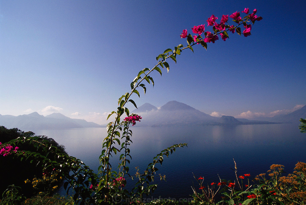 View from Hotel Bella Vista overlooking San Antonio Palopo Village on Lake Aititlan, Guatemala.