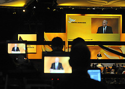 © Licensed to London News Pictures. 17/09/2011. BIRMINGHAM, UK. TV crews monitor Vince Cable's speech from the balcony of the International Convention Centre. Vince Cable. The Rt Hon Dr Vincent Cable MP Business Innovation and Skills Secretary delivers his speech to the Liberal Democrat Conference at the Birmingham ICC today (19 Sept 2011): Stephen Simpson/LNP . Photo credit : Stephen Simpson/LNP