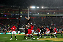 New Zealand win a lineout during the second test of the 2017 British and Irish Lions tour at Westpac Stadium, Wellington.
