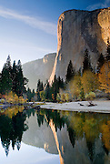 El Capitan reflecting in the Merced River on an autumn evening in Yosemite Valley, Yosemite National Park, California