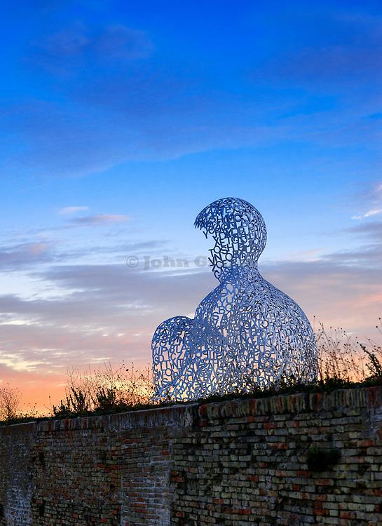 The Nomade sculpture by spanish sculptor Juame Plense overlooks Port Vauban in Antibes, France