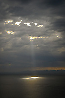 Sun rays on the ocean over False Bay, the Cape of Good Hope, South Africa