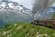 Historic  train on the White Pass & Yukon railroad