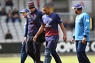 Lancashires Liam Hurt leaves the field injured during the Royal London 1 Day Cup match between Lancashire County Cricket Club and Derbyshire County Cricket Club at the Emirates, Old Trafford, Manchester, United Kingdom on 2 May 2019.