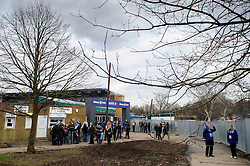 Fans slowly make their way into their new home which is still a little rough around the edges - Photo mandatory by-line: Rogan Thomson/JMP - Tel: Mobile: 07966 386802 16/02/2013 - SPORT - RUGBY - Allianz Park - Barnet. Saracens v Exeter Chiefs - Aviva Premiership. This is the first Premiership match at Saracens new home ground, Allianz Park, and the first time Premiership Rugby has been played on an artificial turf pitch.