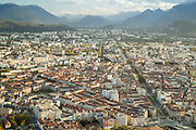 Grenoble city seen from Bastille with mountains on horizon Grenoble, France