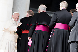 October 19, 2016 - Vatican City, Vatican - Pope Francis speeks with a cardinal at the end of his weekly general audience  (Credit Image: © Massimo Valicchia/NurPhoto via ZUMA Press)