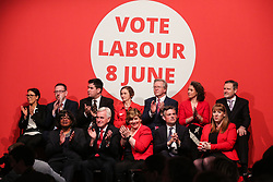© Licensed to London News Pictures. 09/05/2017. Manchester, UK. Members of the shadow cabinet watch on as Labour leader Jeremy Corbyn speaks at an event in Manchester to launch the Labour Party's general election campaign. Photo credit : Ian Hinchliffe/LNP