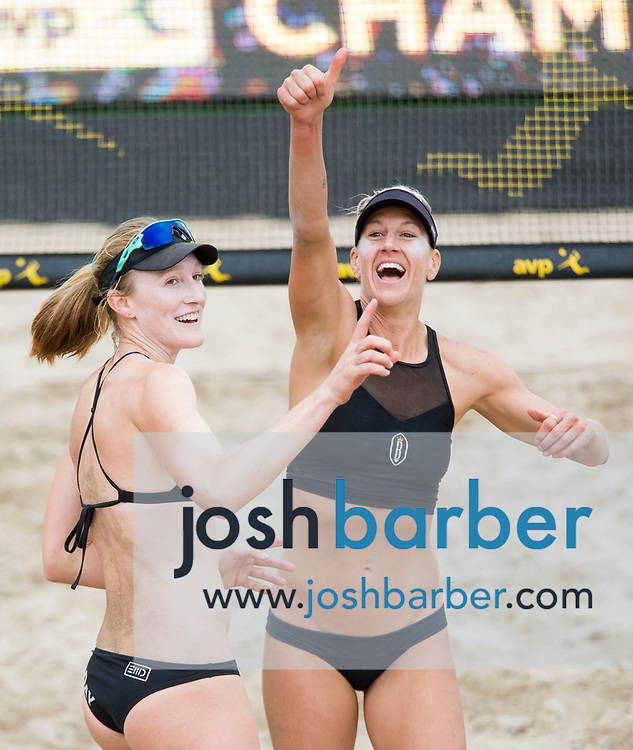Emily Day and Brittany Hochevar celebrate after winning the womens championship match of the AVP Huntington Beach Open at Huntington Beach Pier on Sunday, May 7, 2017 in Huntington Beach, California. (Photo/Josh Barber)