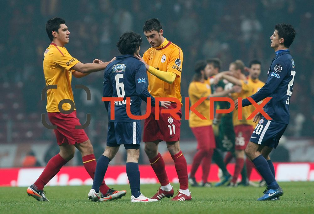 Galatasaray's Albert Riera Ortega (C) during their Turkish Super League soccer match Galatasaray between IBBSpor at the TT Arena at Seyrantepe in Istanbul Turkey on Tuesday, 03 January 2012. Photo by TURKPIX