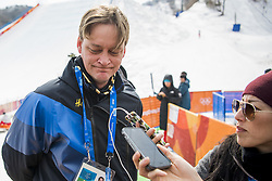 February 18, 2018 - Pyeongchang, SOUTH KOREA - 180218 Lars Markusson, Media Manager of Swedish Olympic Committe is been interviwed by media during the Men's Slopestyle Finale during day nine of the 2018 Winter Olympics on February 18, 2018 in Pyeongchang..Photo: Petter Arvidson / BILDBYRÃ…N / kod PA / 91979 (Credit Image: © Petter Arvidson/Bildbyran via ZUMA Press)