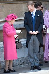 May 18, 2019 - Windsor, United Kingdom - Image licensed to i-Images Picture Agency. 18/05/2019. Windsor , United Kingdom. Queen Elizabeth II and Prince Harry, Duke of Sussex  leaving the Lady Gabriella Windsor  wedding at St.George's Chapel, Windsor, United Kingdom. (Credit Image: © Stephen Lock/i-Images via ZUMA Press)