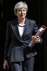 London, UK. 22 May, 2019. Prime Minister Theresa May leaves 10 Downing Street to attend Prime Minister's Questions in the House of Commons.