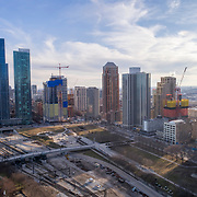 "One Grant Park skyscraper under construction in Chicago, pictured to the right of ""The Grant"" and ""One Museum Park"" in Chicago's South Loop and Near South Side area."