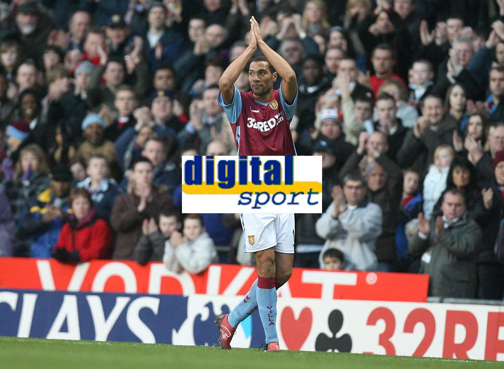 Photo: Rich Eaton.<br /> <br /> Aston Villa v West Ham. The Barclays Premiership. 03/02/2007. John Carew of Aston Villa who scored the winning goal on his debut applauds the home fans as he is substituted