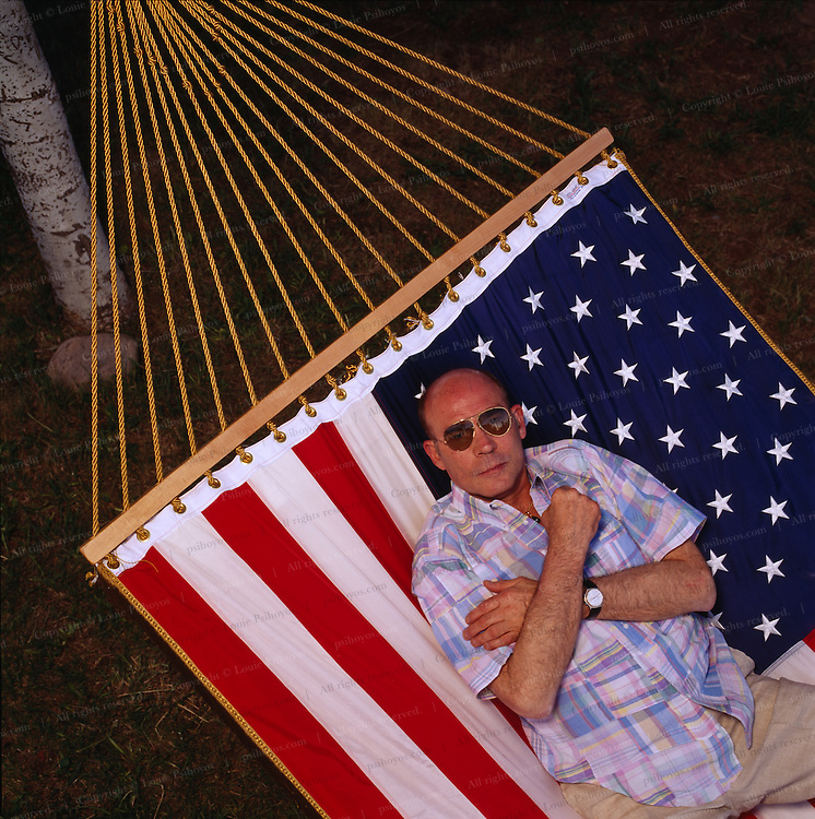 """Hunter S. Thompson, author of """"Fear and Loathing in Las Vegas"""".  Photographed at his home in Woody Creek, Colorado"""