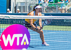 August 5, 2018 - San Jose, CA, U.S. - SAN JOSE, CA - AUGUST 05: Latisha Chan (TPE) waits in front of the net for a serve during the WTA Doubles Championship match at the Mubadala Silicon Valley Classic on the San Jose State University Stadium Court in San Jose, CA  on Sunday, August 5, 2018. (Photo by Douglas Stringer/Icon Sportswire) (Credit Image: © Douglas Stringer/Icon SMI via ZUMA Press)