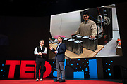 Host Chris Anderson speaks with Sheperd Doeleman at TED2019: Bigger Than Us. April 15 - 19, 2019, Vancouver, BC, Canada. Photo: Bret Hartman / TED