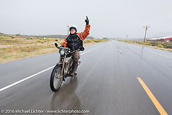 Somebody's not very happy with mother nature! Dean Bordigioni of California riding his Class-1 single-cylinder single-speed 1914 Harley-Davidson down the west side of Wolf Creek Pass during the Motorcycle Cannonball Race of the Century. Stage-10 ride from Pueblo, CO to Durango, CO. USA. Tuesday September 20, 2016. Photography ©2016 Michael Lichter.