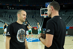 Gasper Potocnik,  assistant coach of Slovenia and Rado Trifunovic, assistant coach of Slovenia during practice session of Team Slovenia at Day 3 in Group C of FIBA Europe Eurobasket 2015, on September 7, 2015, in Arena Zagreb, Croatia. Photo by Vid Ponikvar / Sportida