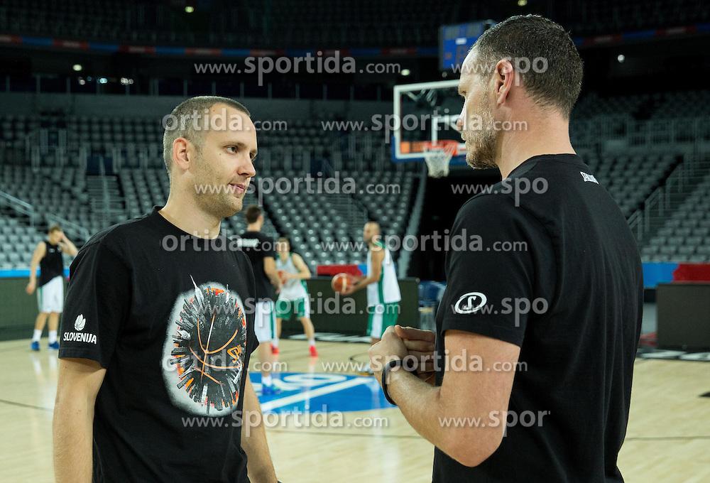 Gasper Potocnik,  assistant coach of Slovenia and Rado Trifunovic, assistant coach of Slovenia during practice session of Team Slovenia at Day 3 in Group C of FIBA Europe Eurobasket 2015, on September 7, 2015, in Arena Zagreb, Croatia. Photo by Vid Ponikvar / Sportida