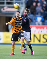 Alloa Athletic's Mitchell Megginson and Falkirk's Luke Leahy. <br /> half time : Falkirk 2 v 0 Alloa Athletic, Scottish Championship game played 5/3/2016 at The Falkirk Stadium.