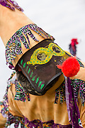 A costumed reveler during the Mamou Courir de Mardi Gras chicken run on Fat Tuesday February 17, 2015 in Mamou, Louisiana. The traditional Cajun Mardi Gras involves costumed revelers competing to catch a live chicken as they move from house to house throughout the rural community.