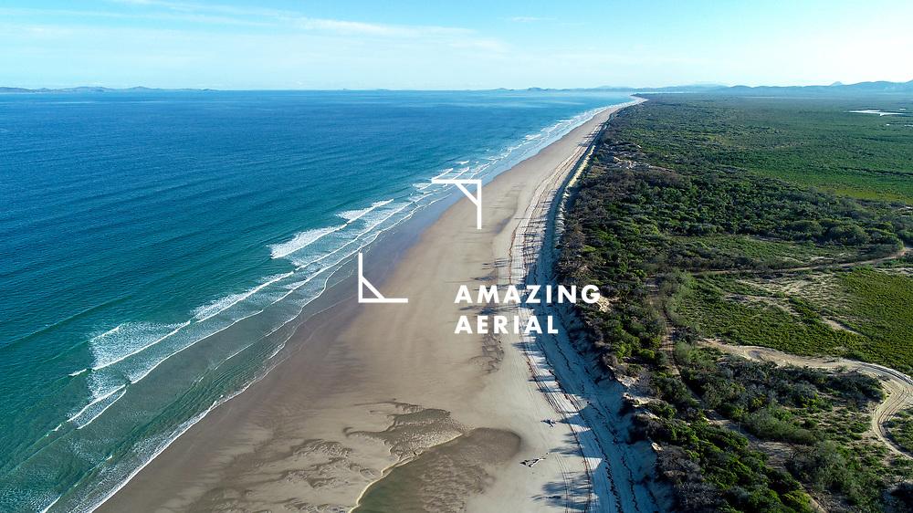 Aerial view of  Sandy Point, Farnborough Beach, Yeppoon, Qld, Australia