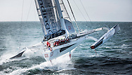 The Lending Club maxi trimaran skippered by Ryan Breymaer. show here in action as they try and break the world record for sailing non stop from Cowes - Dinard in France<br /> Credit - Lloyd Images