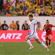 EAST RUTHERFORD, NEW JERSEY - JUNE 17:  James Rodriguez #10 of Colombia in action during the Colombia Vs Peru Quarterfinal match of the Copa America Centenario USA 2016 Tournament at MetLife Stadium on June 17, 2016 in East Rutherford, New Jersey. (Photo by Tim Clayton/Corbis via Getty Images)