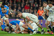Twickenham, United Kingdom, Saturday, 9th March 2019,  England's,Brad SHIELDS, collects the lose ball  during the Guinness Six Nations match, England vs Italy,  at the RFU Rugby, Stadium,© Peter Spurrier