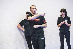 Stef Noij, KMG Instructor from the Institute Krav Maga Netherlands, points during the IKMS G Level Programme seminar today at the Scottish Martial Arts Centre, Alloa.