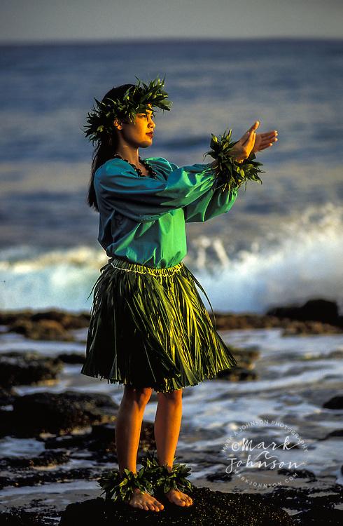 Woman Hula Dancer on the shore, Kauai, Hawaii ****Model Release available