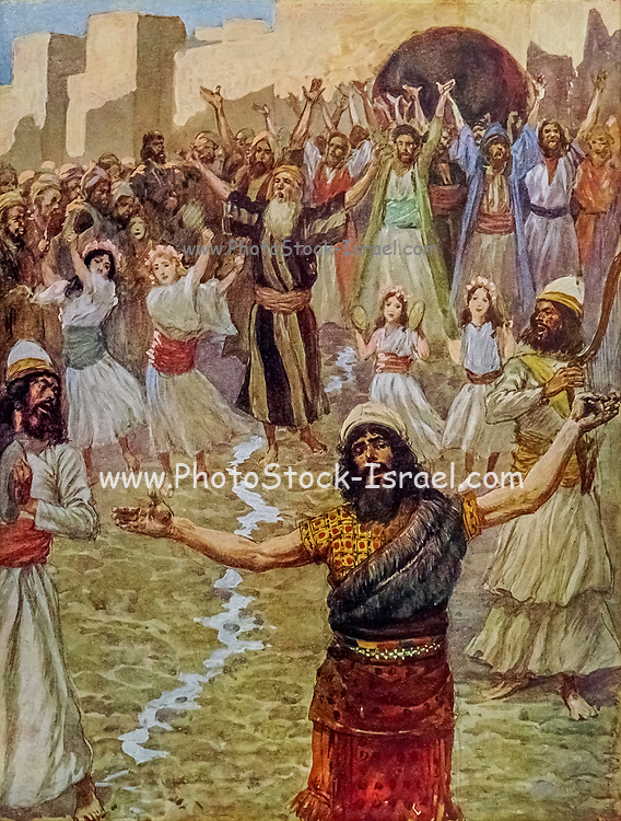 SAUL PROPHESIES WITH THE PROPHETS. I Samuel x. 10. And when they came thither to the hill, behold, a company of prophets met him; and the Spirit of God came upon him, and he prophesied among them. From the book ' The Old Testament : three hundred and ninety-six compositions illustrating the Old Testament ' Part II by J. James Tissot Published by M. de Brunoff in Paris, London and New York in 1904