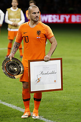 Wesley Sneijder of Holland during the International friendly match match between The Netherlands and Peru at the Johan Cruijff Arena on September 06, 2018 in Amsterdam, The Netherlands