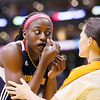03 August 2014: Connecticut Sun forward Chiney Ogwumike (13) puts back her contact lens during the Los Angeles Sparks 70-69 victory over the Connecticut Sun, at the Staples Center, Los Angeles, California, USA.
