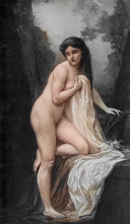 Machine colourised Suzanne [Susanna in the Bath from the Book of Daniel] by Gustave Lorian from Le Nu au Salon 1908 A collection of Nude photography published in Paris in 1908 by Société nationale des beaux-arts (France). et Société des artistes français. Catalogs of nudes exhibited at the official Paris Salons. Some years have two parts: The Salon held at the Champs Élysées sponsored by the Société des artistes français and the Salon held at the Champ de Mars sponsored by the Société nationale des beaux-arts