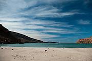 A broad view of the beach and bay at Ensenada Grande, Isla Partida, La Paz, BCS, Mexico; Jan 2010