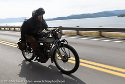 Ryan Allen riding his 1916 Indian Powerplus on the Motorcycle Cannonball coast to coast vintage run. Stage 13 (254 miles) Kalispell, MT to Spokane, WA. Friday September 21, 2018. Photography ©2018 Michael Lichter.