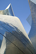 Low angle looking up at the Walt Disney Concert Hall with blue sky above, 135 North Grand Ave, Los Angeles, CA 90012, Part of Music Center, Performing Arts Center of Los Angeles County, California...Subject photograph(s) are copyright Edward McCain. All rights are reserved except those specifically granted by Edward McCain in writing prior to publication...McCain Photography.211 S 4th Avenue.Tucson, AZ 85701-2103.(520) 623-1998.mobile: (520) 990-0999.fax: (520) 623-1190.http://www.mccainphoto.com.edward@mccainphoto.com.