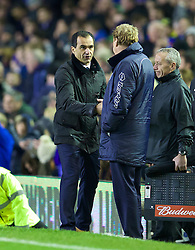 04.01.2014, Goodison Park, Liverpool, ENG, FA Cup, FC Everton vs Queens Park Rangers, 3. Runde, im Bild Everton's manager Roberto Martinez shakes hands with Queens Park Rangers' manager Harry Redknapp after the 4-0 victory // during the English FA Cup 3rd round match between Everton FC and Queens Park Rangers at the Goodison Park in Liverpool, Great Britain on 2014/01/04. EXPA Pictures © 2014, PhotoCredit: EXPA/ Propagandaphoto/ David Rawcliffe<br /> <br /> *****ATTENTION - OUT of ENG, GBR*****