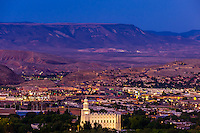 A predawn cityscape of St. George, Utah, USA featuring the illuminated Church of Jesus Christ of Latter-Day Saints (Mormon) Temple.