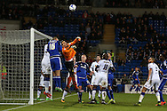 Marco Silvestri , the Leeds Utd goalkeeper makes a save from a Cardiff corner, stats show that the keeper made more saves in this match than any other goalkeeper in the Championship this season.Skybet football league championship match, Cardiff city v Leeds Utd at the Cardiff city stadium in Cardiff, South Wales on Tuesday 8th March 2016.<br /> pic by Andrew Orchard, Andrew Orchard sports photography.