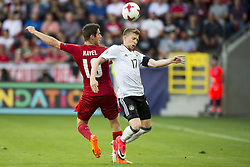 June 18, 2017 - Tychy, Poland - Mitchell Weiser of Germany fights for the ball with Milan Havel of Czech during the UEFA European Under-21 Championship 2017 Group C match between Germany and Czech Republic at Tychy Stadium in Tychy, Poland on June 18, 2017  (Credit Image: © Andrew Surma/NurPhoto via ZUMA Press)